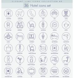 hotel outline icon set Elegant thin line vector image vector image