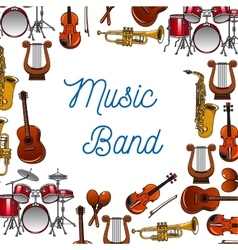 Musical instruments poster for music design vector image vector image