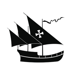 Santa Maria sailing ship icon simple style vector image