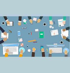 teamwork for office desk interaction hands vector image vector image