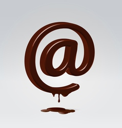 Chocolate dripping email symbol vector image vector image