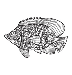 Fish zentangle style design for coloring boo vector image vector image