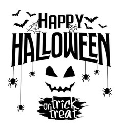 happy halloween and trick or treat text banner vector image vector image