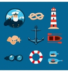 Marine travel icons Isolated cartoons signs vector image vector image