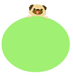 cute pug dog hold blank empty board vector image vector image