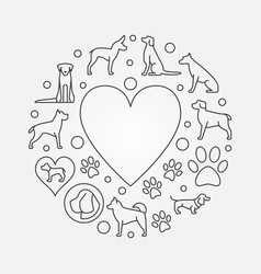 Dogs and heart round vector