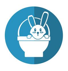 easter bunny in basket present shadow vector image