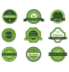 Green organic and bio labels vector image vector image