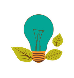 Light bulb color turquoise and leaves vector