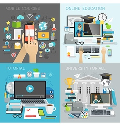 Online Education tutorial university for all and vector image vector image