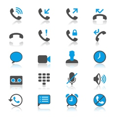Telephone flat with reflection icons vector image vector image