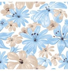 Blue flowers print seamless pattern vector image
