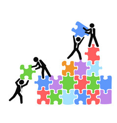 business teams work with jigsaw puzzles vector image vector image