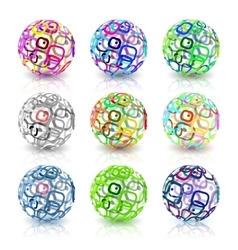 Set of abstract globes made from retro rectangles vector image