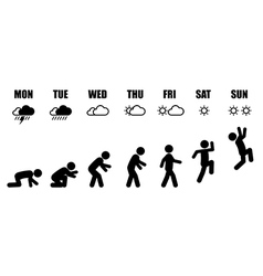 Weekly working life evolution black and white vector image