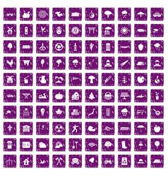 100 tree icons set grunge purple vector