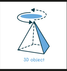 3d object flat line icon vector image