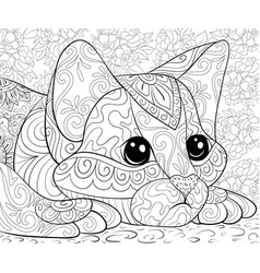 adult coloring bookpage a cute cat on floral vector image