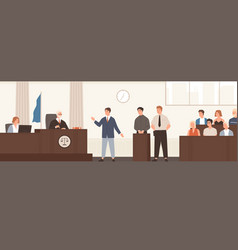 advocate or barrister giving speech in courtroom vector image