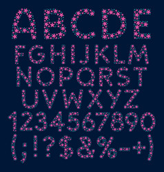 alphabet letters numbers and signs from stars vector image