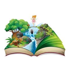 An open book with an image a fairy land vector