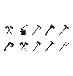 axe icon set simple style vector image