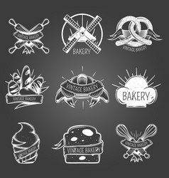 bakery monochrome labels vintage style vector image