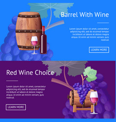 Barrel with red wine and choice internet pages vector