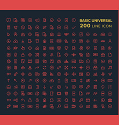 basic universal line icon set in red on black vector image