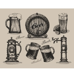 Beer set Sketch elements for oktoberfest festival vector