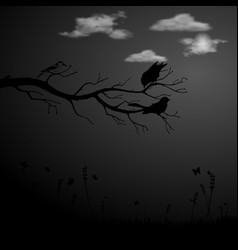 black background with tree branch and birds vector image