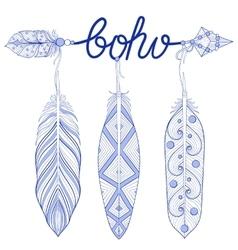 Blue bohemian arrow amulet letters boho vector