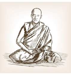 Buddhist monk sketch style vector