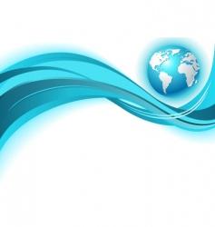 business world map wave backgr vector image