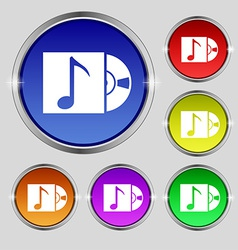 Cd player icon sign Round symbol on bright vector