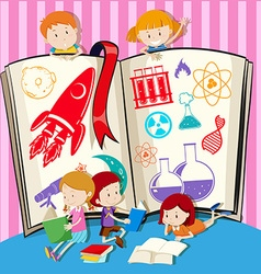Children and science book vector image