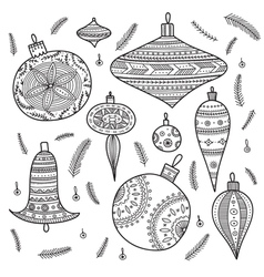 Christmas baubles set vector