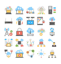 Cloud hosting and data storage flat icons set vector