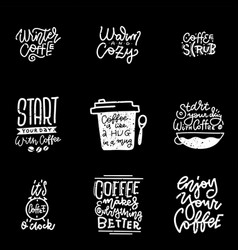 coffee lettering set modern calligraphy style vector image