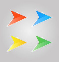 colored shiny glass arrows on a gray background vector image