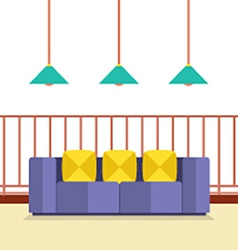 Colorful sofa on balcony with ceiling lamps vector