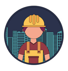 Construction builder with cityscape vector