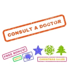 Consult a Doctor Rubber Stamp vector image