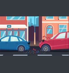 Crash on road accident highway fast car driver vector