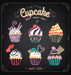 cupcake collection chalking freehand drawing vector image