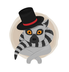 Cute lemur gentelman card vector