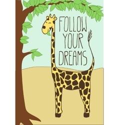Cute postcard with cartoon giraffe vector image