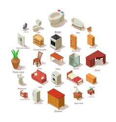Domestic furniture icons set isometric style vector