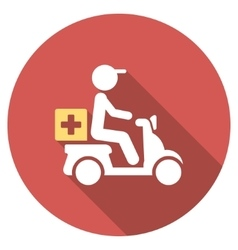 Drugs motorbike delivery flat round icon with long vector