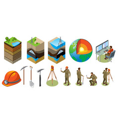 Earth exploration isometric icons vector